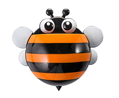 Cute Cartoon Bee Design Kids Toothbrush Toothpaste Holder Wall Mounted Suction Cup Bathroom Decor -Orange
