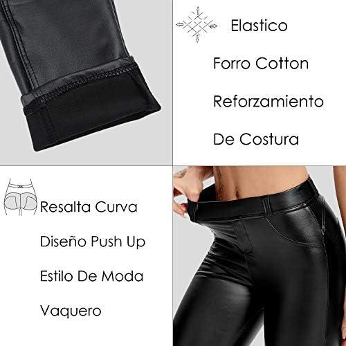 FITTOO PU Leggins Cuero Pantalón Mujeres Elásticos Pantalones para Mujer 6