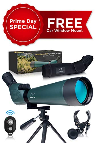 HD Spotting Scope with Tripod 20-60x80mm - BAK-4 Prism Spotting Scopes for Target Shooting, Hunting, Astronomy & Bird Watching - 100% Waterproof IP67 & Shockproof - Includes Phone Adapter and Clicker (Best Target Spotting Scope)