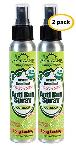 US Organic Mosquito Repellent Anti Bug Outdoor Pump Sprays, 4 Ounces, USDA Certification, Cruelty Free, Proven results by Lab testing, Deet-Free, Value pack of 2