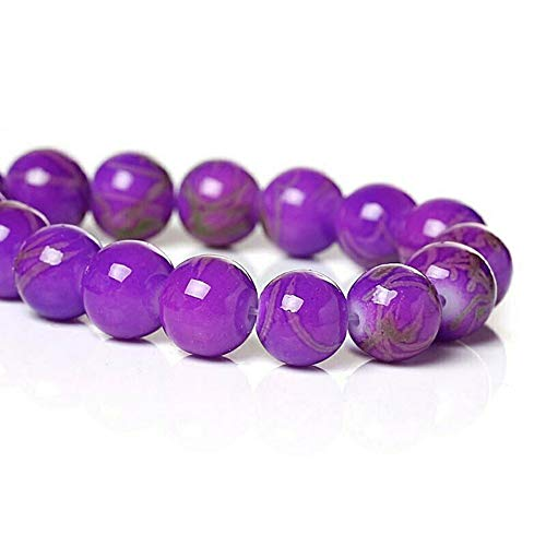 - 20 Pcs Mottled Glass Beads 8mm Purple Beads with Pale Tan Accents Pendant Jewelry Making Supplies Craft DIY Kit