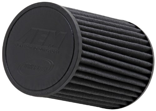 AEM 21-2028BF Universal DryFlow Clamp-On Air Filter: Round Tapered; 2.75 in (70 mm) Flange ID; 8 in (203 mm) Height; 6 in (152 mm) Base; 5.5 in (140 mm) Top