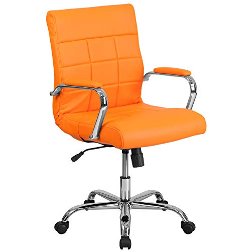 Flash Furniture Mid-Back Orange Vinyl Executive Swivel Chair with Chrome Base and Arms (Renewed)