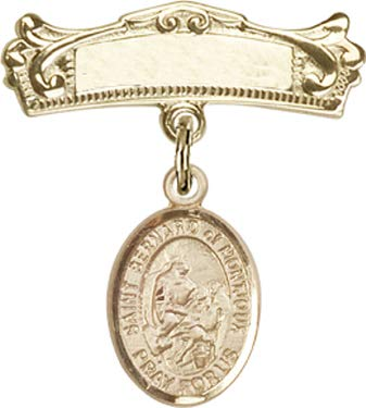 Christening & Baptism Keepsake, 14kt Gold Filled Baby Badge with St. Bernard of Montjoux Charm and Arched Polished Badge Pin/Skiers/Mountain Climbers