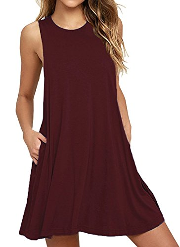 (PCEAIIH Women's Summer Sleeveless Pockets Swing T-Shirt Casual Dresses (M, Wine Red))