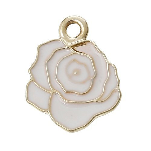 Paquet 10 x Blanc Émaillée Alliage 18mm Breloques Pendentif (Fleur) - (ZX06940) - Charming Beads