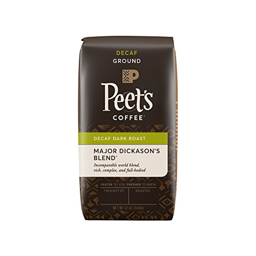 Peet's Coffee Decaf Major Dickason's Blend, Dark Roast Ground Coffee, 12 Ounce Bag Rich, Smooth, and Complex Dark Roast Coffee Blend, with A Full Bodied and Layered Flavor
