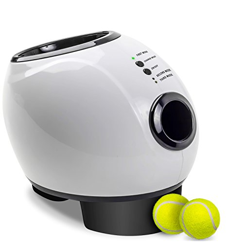 Paws & Pals Automatic Dog Ball Launcher Toy  Interactive Throw and Fetch Mini Tennis Balls Machine with Treat Dispenser  Launches up to 30 feet