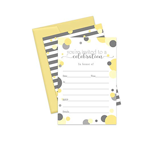 Yellow and Grey Invitations and Envelopes - Pack of 15 Cards