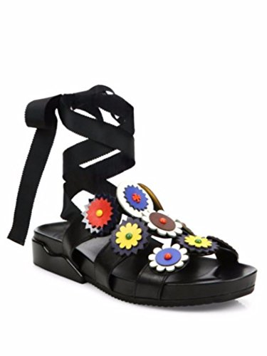Tory Burch Margurite Flower Leather Tie Slides Black - Burch 2017 Tory