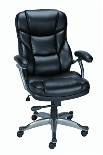 Staples Osgood? Bonded Leather Managers High Back Chair, Bla