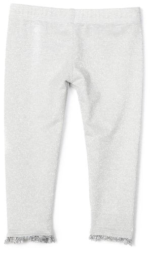 Blue Pearl Baby Girls' Silver Metallic Legging with Trim