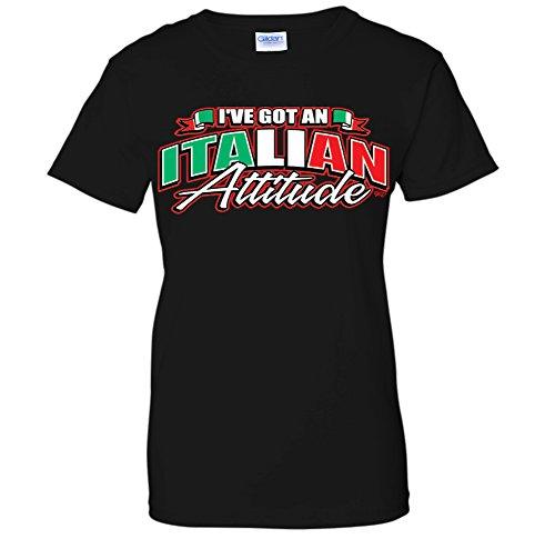 Italian Attitude T-shirt - I've Got An Italian Attitude -Waving Italy Flag Pride WOMENS T-Shirt (Medium Black)