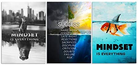 Creative Inspirational Wall Art Mindset is Everything Poster Black White Cat Colorful Goldfish Painting 3 Panels Entrepreneur Quote Success Motivational Wall Decor