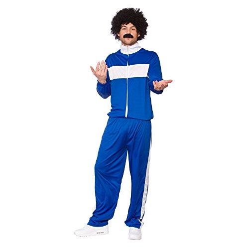 Blue & White 80's Retro Trackie Funny Athlete Tracksuit Fancy Dress Costume Plus Size -