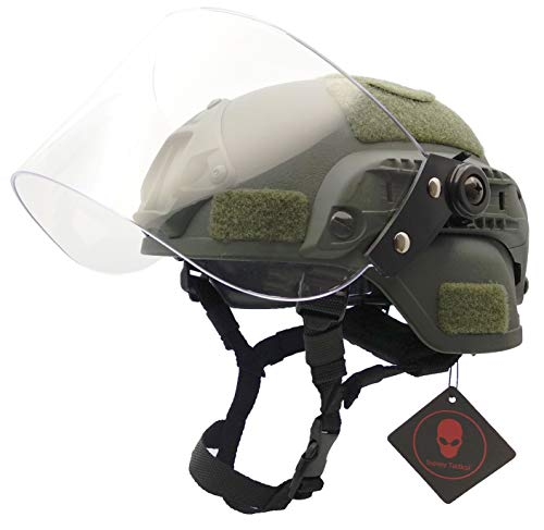 Airsoft Tactical MICH 2000 Military Paintball Army Combat Helmet with Clear Riot Visor Face Shield Sliding Goggles & Side Rail NVG Mount OD Green]()