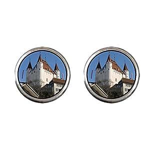 Chicforest Silver Plated Travel Schloss Castle Thun Switzerland Photo Stud Earrings 10mm Diameter