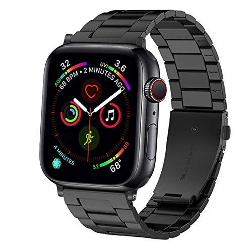 Omter Ultra-Thin Band Compatible with Apple Watch 44mm 42mm,Upgraded Version Men Metal Stainless Steel Strap Bracelet Wristband Compatible iWatch Series 4 Series 3 Series 2 Series 1(Black 44mm 42mm) ()