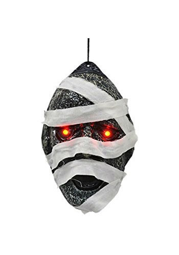Discount Halloween Decor (Creepy Hanging Mummified Head Decoration with Glowing LED Eyes)