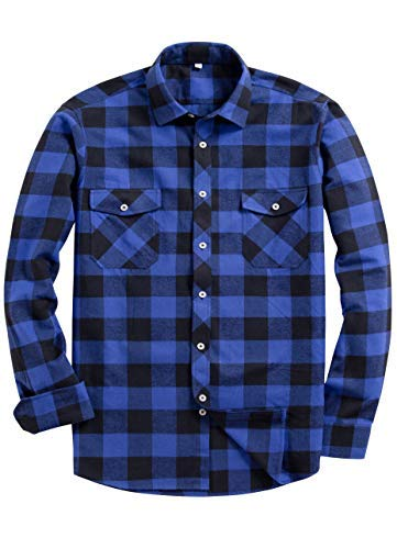 Alimens & Gentle Men's Button Down Regular Fit Long Sleeve Plaid Flannel Casual Shirts Color: Blue, Size: XXX-Large