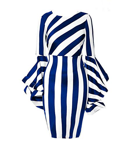 YUHENG Women Plus Size Dresses for Wedding Fashion Horn Long Sleeve Blue and White Stripe Soft and Comfortable Elegant Formal Knee Length Pencil Dresses (Blue L)