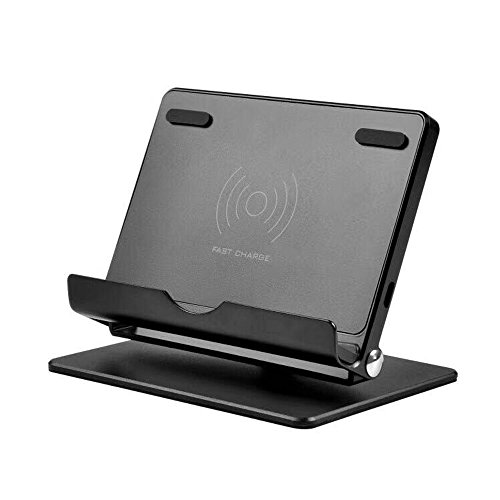 Fast Wireless Charging Phone Stand,Aluminum Multi-Angle Foldable Phone Stand QI Wireless Charger Cradle Compatible iPhone 8/8 Plus/iPhone X,Samsung Galaxy S8,S8 Plus,S7,S7 Edge,S6 Edge Plus (Black)