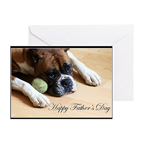 CafePress Happy Father's Day Boxer Greeting Card, Note Card, Birthday Card, Blank Inside Matte Boxer Dog Note Card
