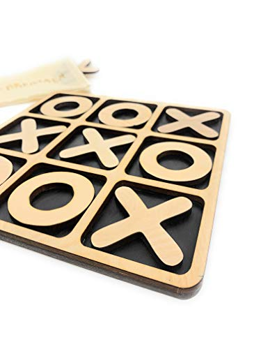 CreaTech-Classic Tic-Tac-Toe Board Game XOXO TicTacToe Classic Board Games Noughts and Crosses Family Brain Teaser Puzzle Coffee Table for Adults and Children All Ages (Board Toe Tac Wooden Tic)