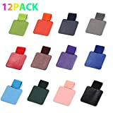 Yizerel 12 Pack Pen Loop Holder, Self-Adhesive Pen Holder Pencil Elastic Loop Designed for Notebooks, Journals, Techo, Calendars with Various Colors (12 Pcs, 12 Colors)