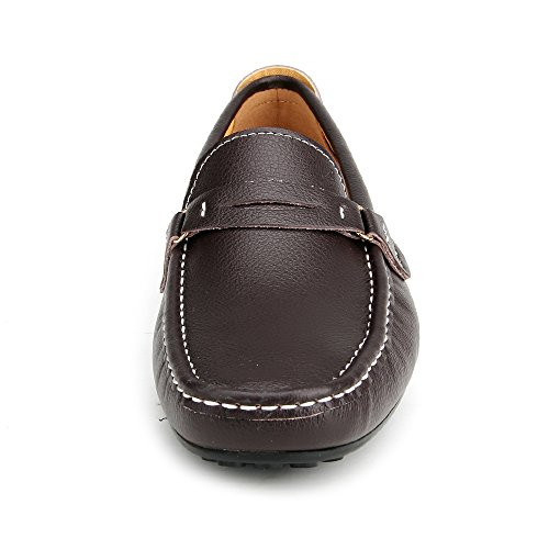 Ausland Mens Avslappnade Kohud Slip-on Loafer 3328 Kaffe