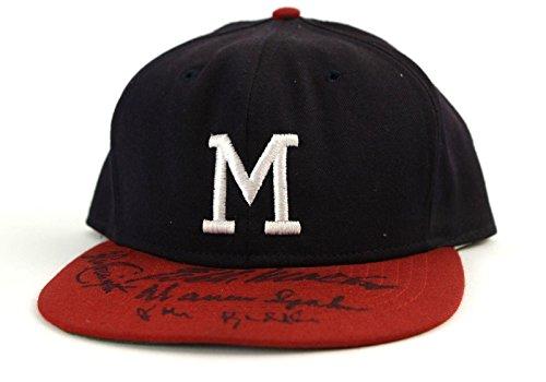 1950's Milwaukee Braves Team Signed Roman Pro Cap by 27, Mathews, Spahn,Crandall - Autographed Hats Milwaukee Braves Cap