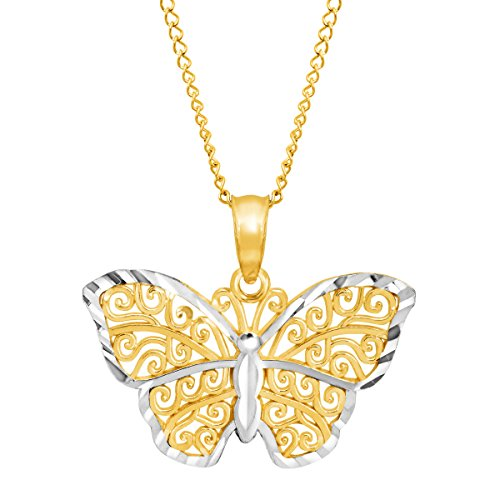 Eternity Gold Filigree Butterfly Pendant Necklace in 14K Gold