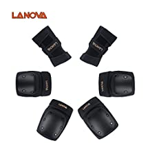 Lanova Adult/Child Knee Pads and Elbow Pads with Wrist Guards Protective Gear Set for Multi Sports Safety Protection Scooter Skateboard Biking BMX Hoverboard