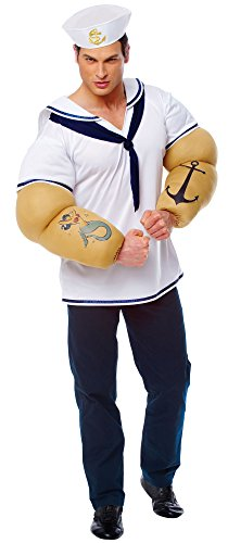 Costume Culture Men's Sailor Shirt with Detachable Arms Costume, White, One (Popeye Costume Shirt Only)