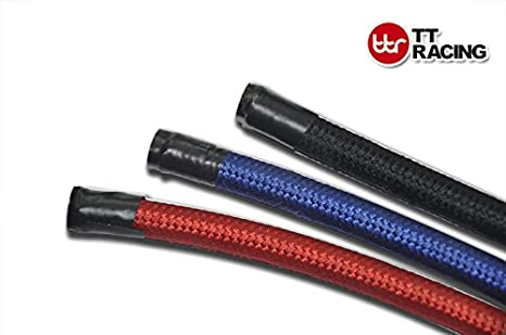 4AN AN4 Black Nylon Stainless Steel Braided Fuel Oil Line Hose for 1//4 Tube Size theBlueStone 10FT