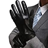 Harrms Best Luxury Touchscreen Italian Nappa Genuine Leather Cold Weather Gloves Warm Lining (L-8.9'(US Standard Size), BLACK)
