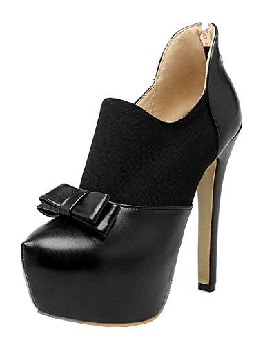 YE Damen High Heels Stiletto Plateau Geschlossen Pumps mit Schleife Elegant Modern Schuhe Schwarz