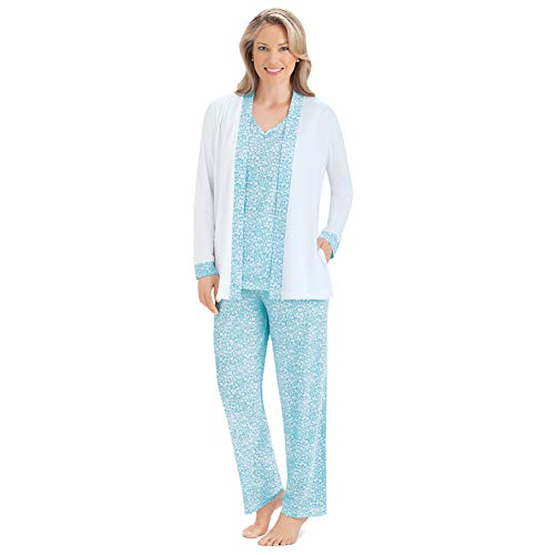 Women's 3 Piece Cozy Sleepwear Set w/Light Floral Design - Shirt, Jacket and Pajama Pants, Blue, X-Large