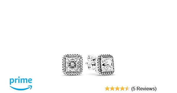 2563fd20e Amazon.com: PANDORA Timeless Elegance Stud Earrings, Sterling Silver, Clear  Cubic Zirconia, One Size: Jewelry
