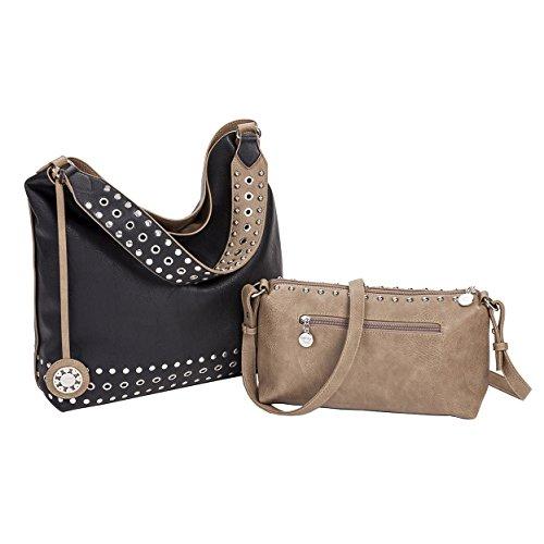 Sydney Love Grommet Reversible Hobo & Crossbody Bag Set, Taupe/Black