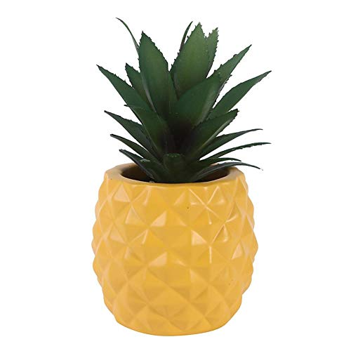 WinnerEco Flower Pot Decor Pineapple-Shaped Resin Plastic Flower Pot Planters Home Decor Craft (Yellow