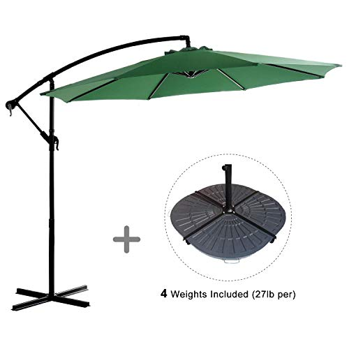 HOMEFUN Cantilever Patio Umbrella Sunbrella 10ft Patio Aluminum Umbrella, Cross Base and Cover, 4 Weights, Green