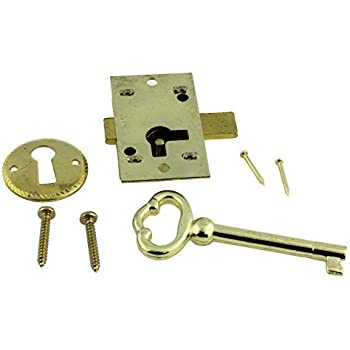 L-1B BRASS PLATED STEEL Flush Mount Cabinet Door Lock /& Skeleton Key
