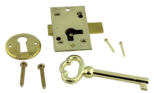 Small Brass Plated Flush Mount Lock Set for Grandfather Clock, Cabinet Door or Dresser Drawer   L-1B