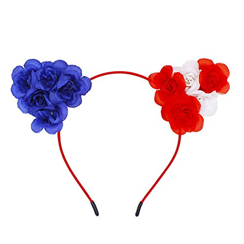 PinnacleT1 Headband for kids Girls,Cosplay Cat Ears Headwear for National Flag Day 4th of July American Independence Day and Halloween Decor,3 Pack