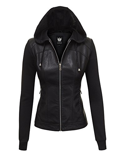 Apparel Biker Leather (WJC1347 Womens Faux Leather Zip Up Moto Biker Jacket With Hoodie XL Black_Black)