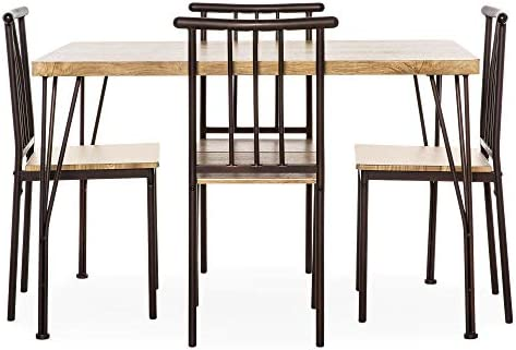 home, kitchen, furniture, kitchen, dining room furniture,  table, chair sets 7 picture Best Choice Products 5-Piece Indoor Modern Metal promotion