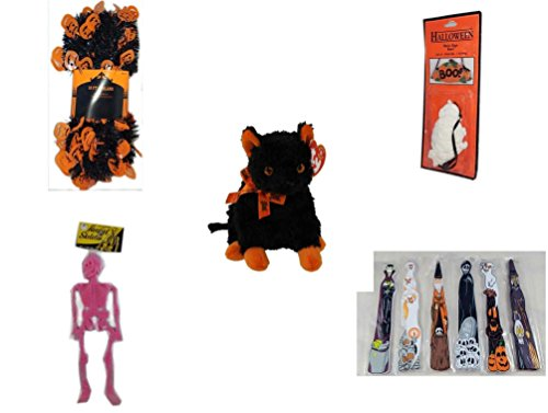 Halloween Fun Gift Bundle [5 Piece] - Halloween Black & Orange Pumpkin Garland 10 ft. - Halloween Resin Boo. Sign - Ty Beanie Baby Fraidy The Black & Orange Cat - Hanging Skeleton Pink - Hallowee]()