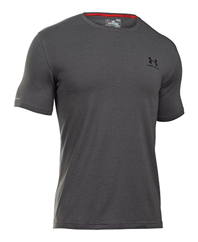 Under Armour Men's Charged Cotton Left Chest Lockup T-Shirt, Carbon Heather /Black, Small by Under Armour (Image #3)