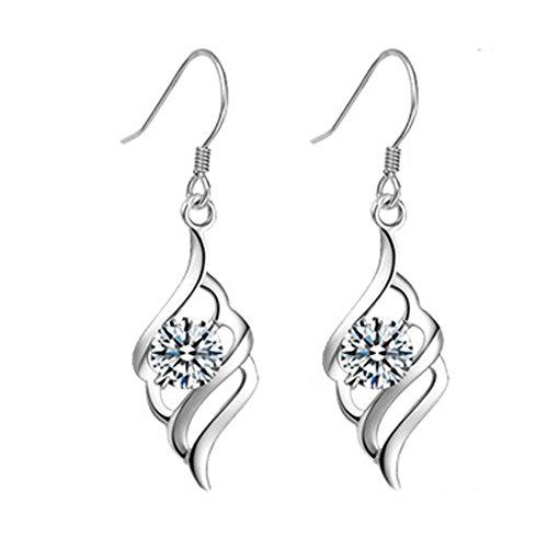 women sterling silver dangle earrings_drop hook fashion for ladis jewellery girls_ prime day promotion deals crystal earrings